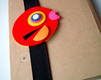 Cute Red Happy Bird Book Strap, journal strap, notebook strap, journal band, wedding favors, boy, girl, kid, black