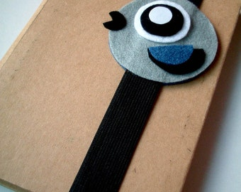 Cute Gray Happy Bird Book Strap, gray journal strap, notebook strap, journal band, wedding favors, boy, girl, kid, black