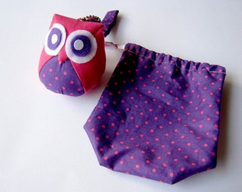 Discounted - Blossom - Cute Little Owl Doll with Bag: plush, owl decor, doll, kid doll, children doll, owl decoration, kawaii, pink, violet