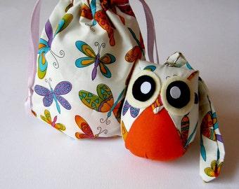 Discounted - Sugar - Cute Little Owl Doll with Bag: plush, owl decor, doll, kid doll, children doll, owl decoration, kawaii, orange, white