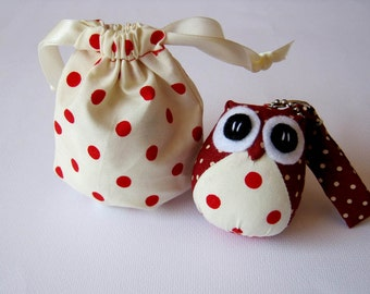 Dotty - the Little Cute Owl Doll with Bag: plush, keychain, children, kid, baby, boy, girl, kid, red, cream, poka dot, dot, eco