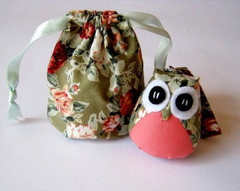 Floweedy - the Little Cute Owl Doll with Bag: plush, keychain, children, kid, baby, boy, girl, kid, leaf, green, eco, rose, pink, flowery