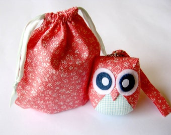 Pinkoo - Cute Little Owl Doll with Bag: plush, owl decor, doll, kid doll, children doll, owl decoration, kawaii, blue, pink, SALE, discount