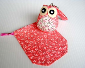 Popo - the Little Cute Owl Doll with Bag: plush, keychain, children, kid, baby, boy, girl, kid, eco, soft, flower, garden, pink, white