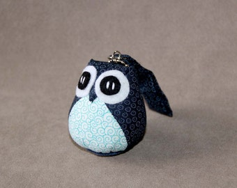 Blueberry - the Little Cute Owl Doll with Bag: plush, keychain, children, kid, baby, boy, girl, kid, flower, wave, blue, light blue, navy