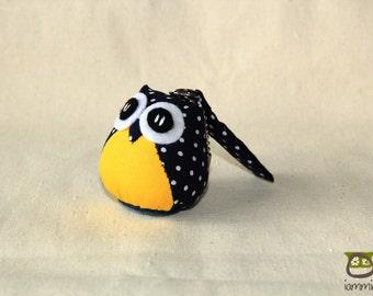 Midnight Owl - Cute Owl Doll with a Bag: plush, owl decor, little, mini, kid, poka dot, owl decoration, kawaii, yellow, blue, iammie