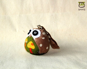 Mushroom - Cute Owl Doll with a Bag: plush, owl decor, brown, little, mini, kid, poka dot, owl decoration, kawaii, yellow, blue, iammie