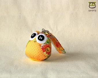 Sunflower - Cute Owl Plush with a Bag: owl doll, owl decor, little, mini, kid, poka dot, owl decoration, kawaii, yellow, blue, iammie