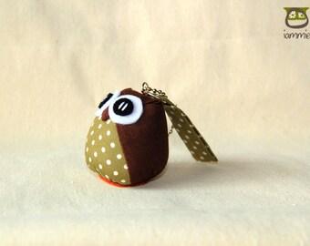 Brownie - Cute Owl Doll with a Bag: owl plush, owl decor, little, mini, kid, flower, green, brown, poka dot, owl decoration, kawaii, iammie
