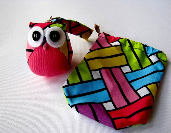 Pinku - the Little Cute Owl Doll with Bag: plush, keychain, children, kid, baby, boy, girl, kid, pink, blue, green, eco, iammie