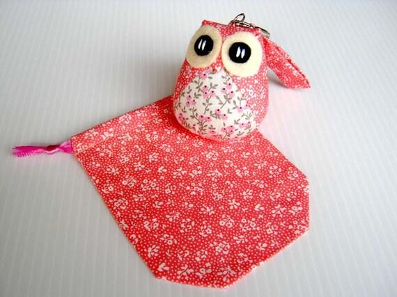 Popo - the Little Cute Owl Doll with Bag: plush, keychain, children, kid, baby, boy, girl, kid, eco, soft, flower, garden, pink, white