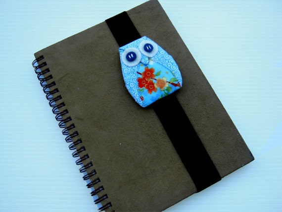 Blue Flower Owl Book Strap, owl, journal strap, notebook strap, journal band, diary band, boy, girl, kid, black, felt, spring, bird