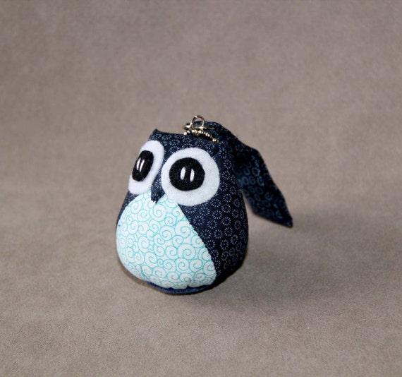 Blueberry - the Little Cute Owl Doll with Bag: plush, keychain, children, kid, baby, boy, girl, kid, flower, wave, blue, light blue, navy