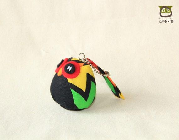 Ziggie - Cute Owl Plush with a Bag: owl doll, owl decor, little, mini, kid, zigzag, green, yellow, red, owl decoration, kawaii, iammie