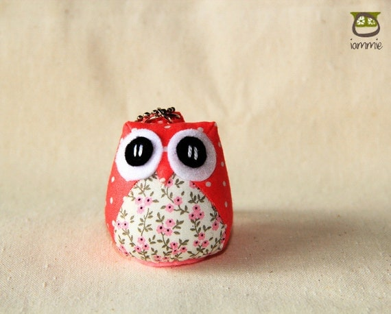 Bloomie - Cute Owl Doll with a Bag: owl plush, owl decor, little, mini, kid, flower, pink, poka dot, owl decoration, kawaii, iammie