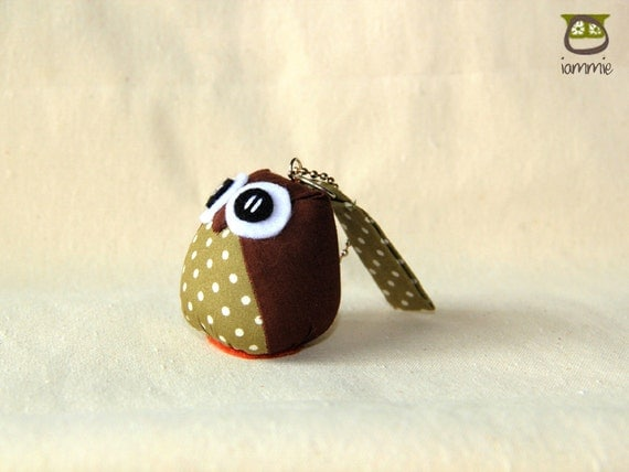 Brownie - Cute Owl Doll with a Bag: owl plush, owl decor, little, mini, kid, flower, green, brown, poka dot, owl decoration, kawaii, iammie