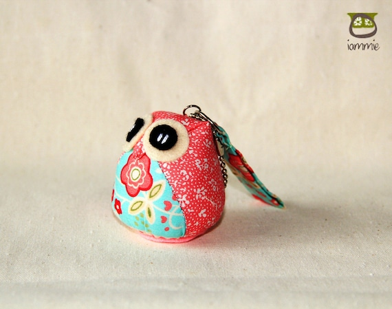 Carnation - Owl Doll with a Bag: owl plush, owl decor, little, mini, kid, pink, light blue, blue, flower, owl decoration, kawaii, iammie