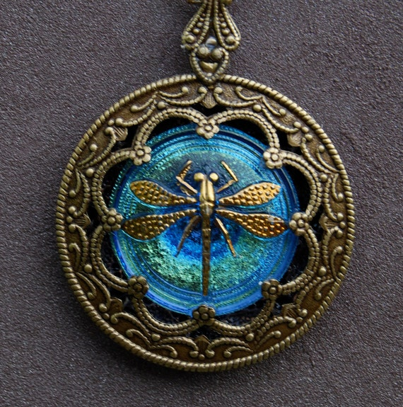 Dragonfly, FREE SHIP, Double sided, Blue/Green Iridescent, Czech Glass Button Necklace.