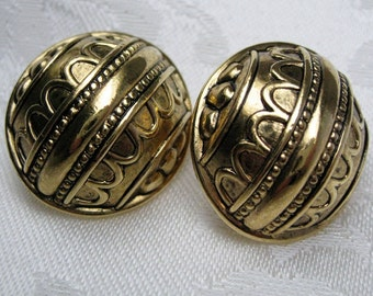 Vintage Gold Earrings clip on art deco antiqued gold retro 1980s style metal clip earrings