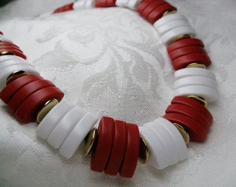 Vintage Avon Necklace beaded necklaces red and white adjustable choker vintage 1980s jewelry nautical style jewelry gift for her Birthday