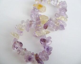 Amethyst Bracelet golden citrine gemstone chip beaded bracelet  stretch bracelet purple and gold Birthday gift for her Easter gift