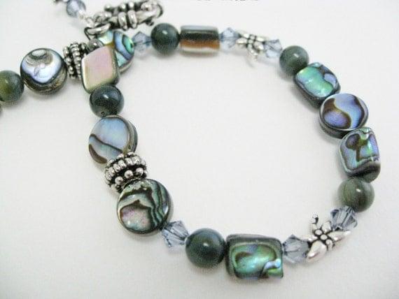 Abalone Bracelet Dragonfly jewelry shell swarovski crystal