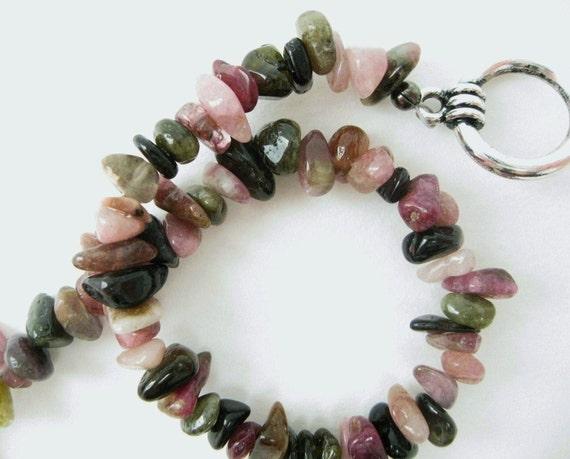 Tourmaline Bracelet beadwork semiprecious gemstone chip stone colorful