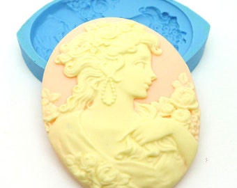 Large Lady Portrait Cameo 52mm Bakery Flexible Mold 249L* BEST QUALITY