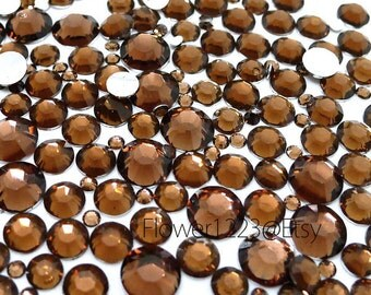 400pcs - Assorted 2mm to 6mm 14 Faceted Cut Coffee Brown Rhinestones Flat Back DIY Deco - BEST QUALIT