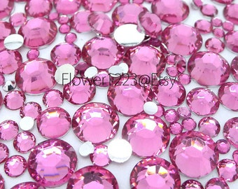 400pcs - Assorted 2mm to 6mm 14 Faceted Cut Rose Pink Rhinestones Flat Back DIY Deco - BEST QUALIT