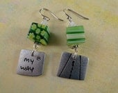 SALE, Green Millefiori Beads And Silver Earrings, Yellow And White Flowers And Stripes, Silver Toned Charms, OOAK