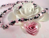 Roses Are Pink, Heart Necklace And Matching Earrings, Glass Pendant, Lampwork Beads, Pink, Black, Silver, Valentines Day, OOAK
