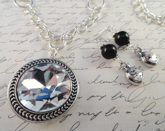 Crystal Elegance And Black Onyx Necklace With Matching Earrings, Glass Crystal Pendant, Onyx, Silver Plated Chain, OOAK