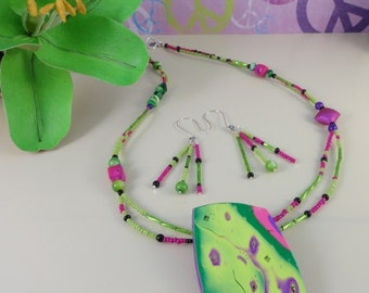 Handmade Polymer Clay Pendant And Glass Beaded Asymmetrical Necklace, Chartreuse, Hot Pink, Fuchsia, Purple, Green, Summer, OOAK