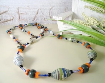 Cool Sea Breeze Paper Beaded Long Necklace, Blues And Greens, Orange Shell, Brass Componets, Summer, OOAK