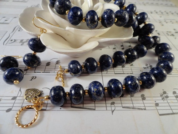 Elegant Lapis Lazul And Gold Necklace, Matching Earrings, Navy Blue With Gold Pyrite Flecks, Summer Blueberries, 14K Gold Plated, OOAK