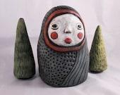 Ceramic Art Doll - Forest Folk Figure - OOAK  Interactive Sculpture by Calan Ree