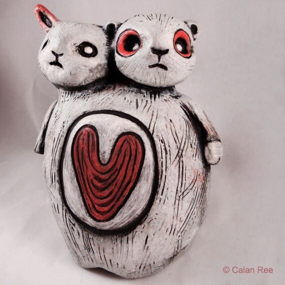 Reserved - Do Not Purchase Please - Ceramic Art Figurative Sculpture - Tweedle Bear and Tweedle Bun - OOAK by Calan Ree