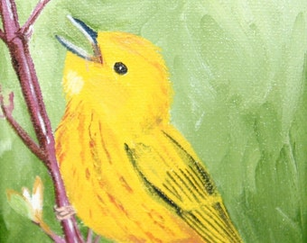 "4x5"" Yellow Warbler Oil Painting w/Easel"