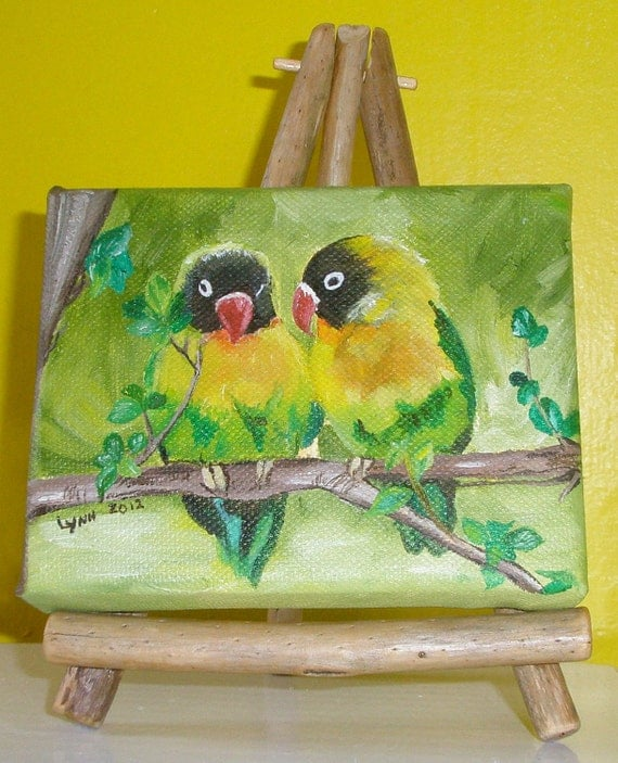 "4x5"" Lovebirds Oil Painting w/ Easel"