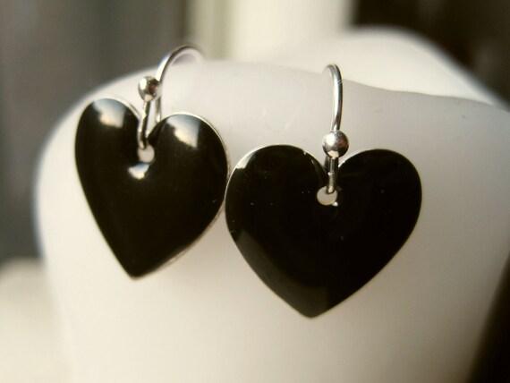 Black Heart Earrings. Jet Black Enamel Hearts on Silver Ball Tip Ear Wires.