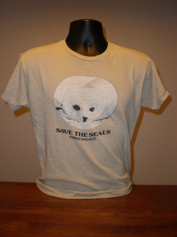 vintage 1970s greenpeace save the seals t shirt green peace