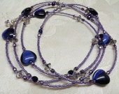 INK - Long beaded wrap necklace with Midnight fiber optic hearts. Inky blue, dusky violet with lots of sparkle. Free US Shipping