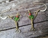Martini glasses cocktail earrings, wire wrapped with crystal olives