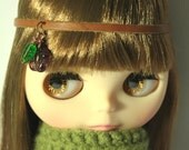 Spring Headband for Blythe - leather, copper, amethyst  flower and glass