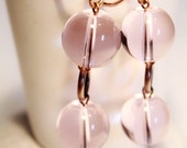 SALE!!! Pink Bubble Gum - Copper Earrings with pink glass beads