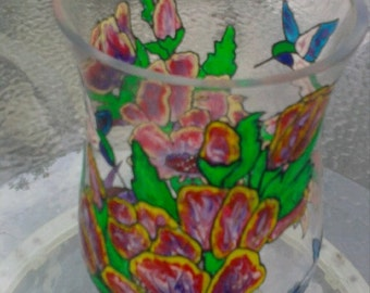 Hand Painted Vase / Candle Holder over 45% off