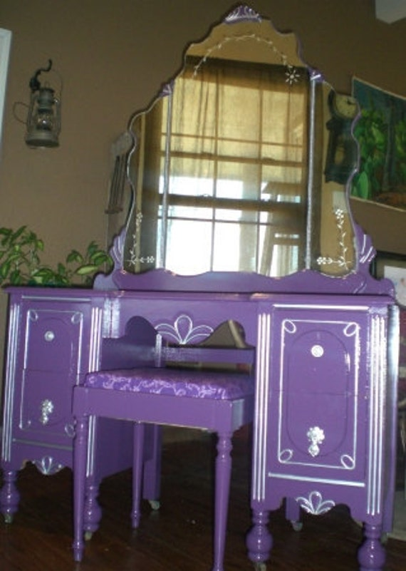 Mirrored Vanity Table And Stool: Items Similar To SOLD Vintage Vanity Dressing Table