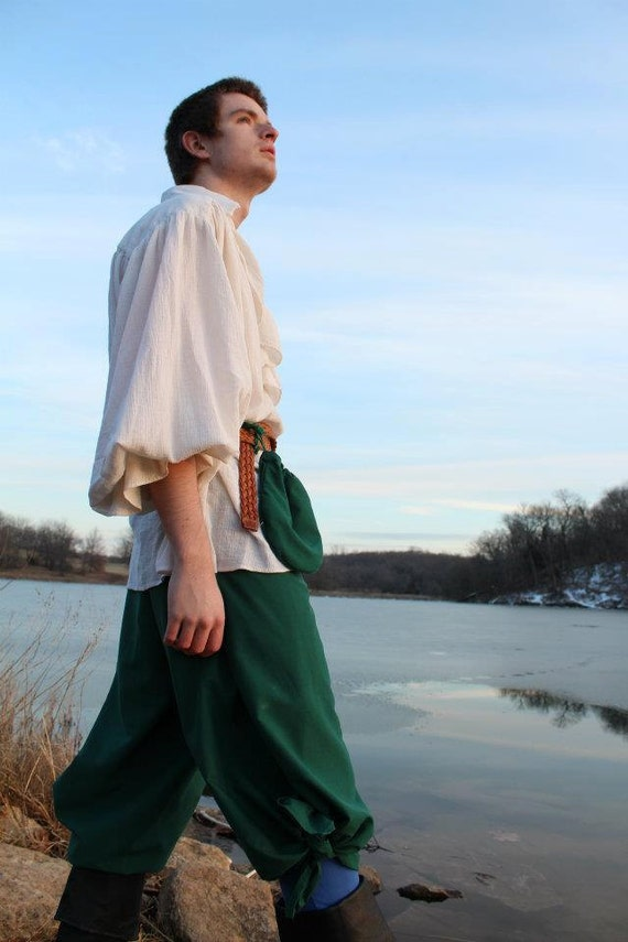 WRAP PANTS Hunter Green poly-cotton Pirate / Gypsy / LARP