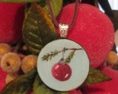 Hand Painted Christmas Ornament Necklace Pendant Jewelry Wearable Art